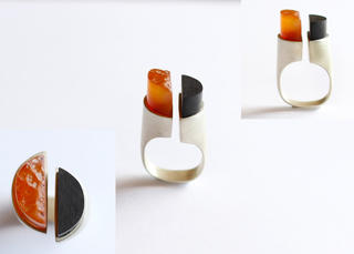 Carnelian and Ebony Hemi-Spheres Ring