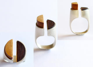 Matai and Rosewood Hemi-Spheres ring